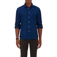 Hartford Men's Cotton Oxford Cloth Shirt Blue