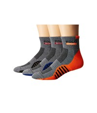 Polo Ralph Lauren 3 Pack Racing Stripe Sole Contrast 1 4 Socks Sweatshirt Grey Heather Men's Quarter Length Socks Shoes Gray