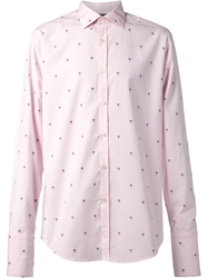 Paul Smith Black Label Printed Double Cuff Shirt Pink And Purple