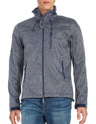 Superdry Textured Zip Front Jacket Navy Grit