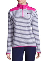 Vineyard Vines Striped Zip Front Sweater Slate Grey Pink