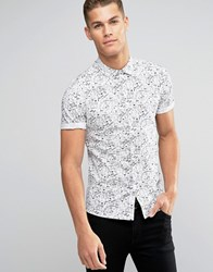 Asos Skinny Shirt In Doodle Print With Short Sleeves White