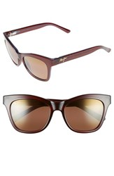 Women's Maui Jim 'Sweet Leilani' 53Mm Cat Eye Sunglasses Rootbeer Blue Hcl Bronze