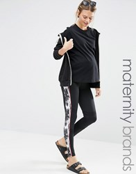 Mama Licious Mamalicious Lounge Over The Bump Printed Leggings With Back Zip Pocket Black