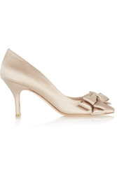 Lucy Choi London Highgate Bow Embellished Satin Pumps