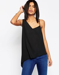 Asos Asymmetric Strap Detail Cami Top Black