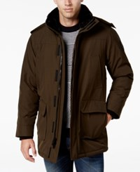 Calvin Klein Men's Faux Fur Collar Parka With Removable Hood Military Green