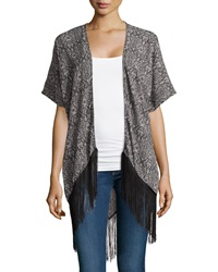 Romeo And Juliet Couture Snake Print Fringe Hem Kimono Gray
