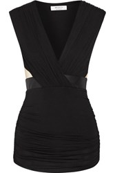 Bailey 44 Faux Leather And Mesh Trimmed Jersey Top Black