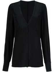 Jason Wu V Neck Buttoned Blouse Black