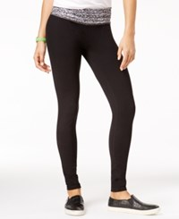 Material Girl Active Juniors' Printed Waist Yoga Leggings Only At Macy's Black
