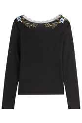 Alberta Ferretti Wool Pullover With Embroidery And Lace Collar Black