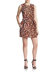 Red Valentino Leopard Print Faille Fit And Flare Dress Cocoa Print