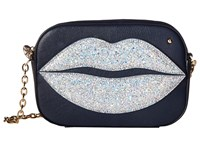 Charlotte Olympia Pouty Shoulder Purse Night Sky Blue Goatskin Glitter Wallet Handbags