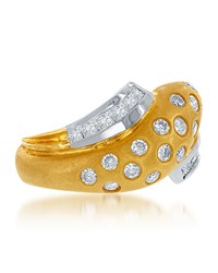Diana M. Jewels Two Tone Twisted 14K Gold And Diamond Ring Size 6