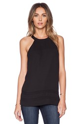 Sam Edelman Sheer Inset Tank With Zip Back Black