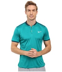 Nike Court Advantage Premier Tennis Polo Rio Teal Midnight Turquoise White Men's Short Sleeve Pullover Blue