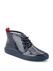 Del Toro Vernice Perforated Patent Leather Sneakers Navy