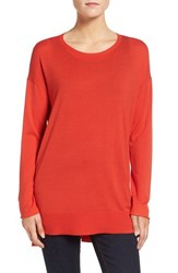 Eileen Fisher Women's Featherweight Merino Wool Crewneck Sweater Poppy