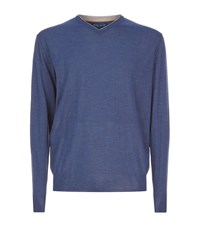 Peter Millar Wool And Silk V Neck Jumper Male Blue