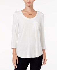 Maison Jules Three Quarter Sleeve Scoop Neck T Shirt Only At Macy's Egret