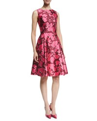 Oscar De La Renta Sleeveless Poppy Print Sateen Dress Guava