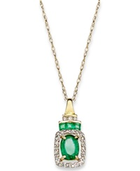 Macy's 14K Gold Necklace Emerald 9 10 Ct. T.W. And Diamond 1 5 Ct. T.W. Rectangle Pendant