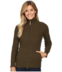 Fjall Raven Vik Zip Cardigan Dark Olive Women's Sweater