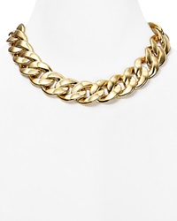 Michael Kors Curb Chain Link Toggle Necklace 18 Gold