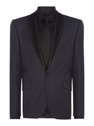 Kenneth Cole Wesley Slim Fit Satin Shawl Suit Jacket Navy