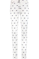 Etro Embroidered Mid Rise Skinny Jeans White