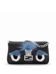 Fendi Micro Leather Rabbit Fur And Fox Fur Buggie Baguette Black Multi