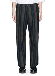Uma Wang 'Cargo' Relaxed Fit Stripe Wool Linen Pants Brown