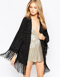 Oh My Love Fringed Kimono In Burnout Velvet Black