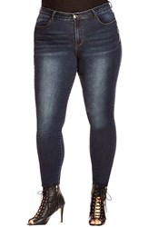 Plus Size Women's City Chic Side Zip Skinny Jeans Dark Denim
