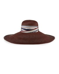 Yestadt Millinery Super Super Wide Panama Straw Hat Oxblood Size S M 22.5