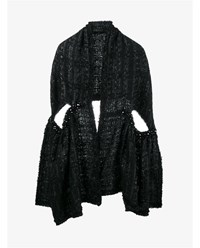 Simone Rocha Mohair Wool Blend Lurex Tweed Scarf Black Denim