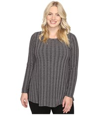 B Collection By Bobeau Curvy Plus Size Alexa Rib Knit Tee Charcoal Grey Women's T Shirt Gray