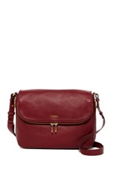 Fossil Preston Leather Flap Handbag Red