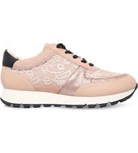 Kg By Kurt Geiger Lacey Embellished Leather Trainers Nude