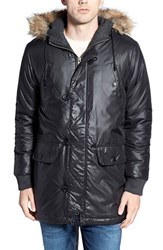 Men's Bellfield Metallic Gloss Parka With Faux Fur Trim