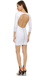 David Lerner Open Back Long Sleeve Dress Soft White