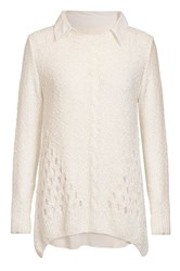 Quiz Cream Sequin Knit Bow Back Jumper Cream