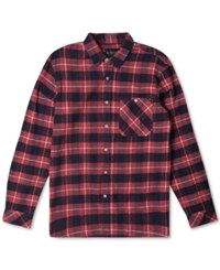 Rip Curl Men's Long Sleeve Countdown Flannel Shirt Red