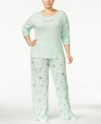 Hue Plus Size Thermal Pajama Set With Socks Mint Flowers