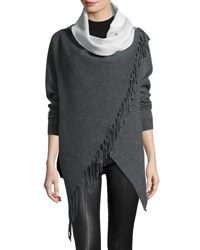 P. Luca Double Face Fringe Crossover Cardigan Gray Off W