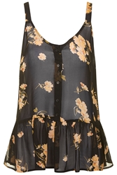 Topshop Flower Frill Top Black