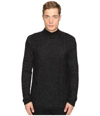 Matiere Smith Cashmere Blend Cowl Neck Sweater Heather Jet Black