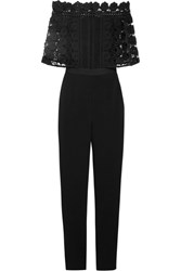 Self Portrait Serena Guipure Lace And Crepe Jumpsuit Black
