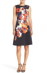 Maggy London Petite Women's Floral Print Faille Fit And Flare Dress Soft White Red